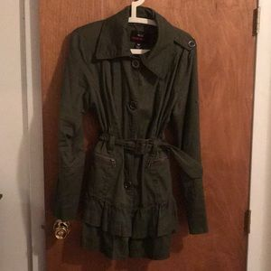 Miss Sixty Green Trench with Ruffle